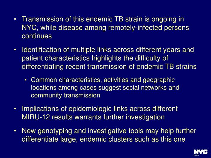Transmission of this endemic TB strain is ongoing in NYC, while disease among remotely-infected persons continues