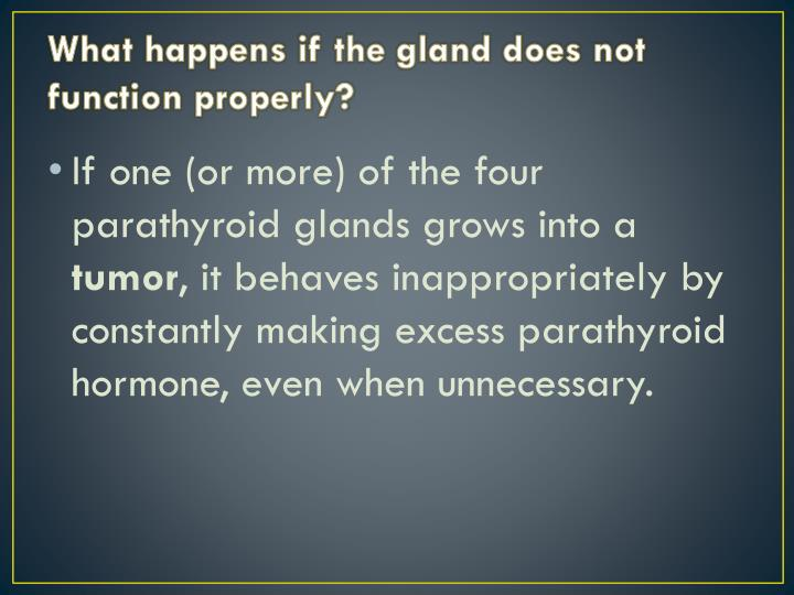 What happens if the gland does not function properly?