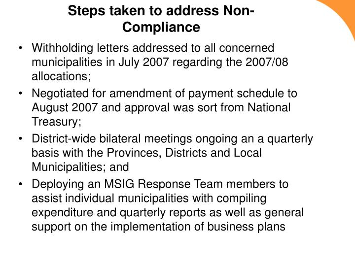 Steps taken to address Non-Compliance