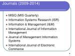 journals 2009 2014