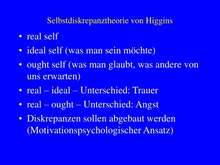 Selbstdiskrepanztheorie von Higgins