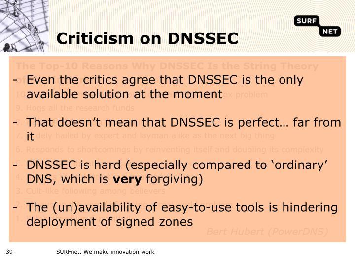 Criticism on DNSSEC