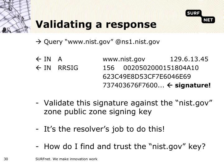 Validating a response