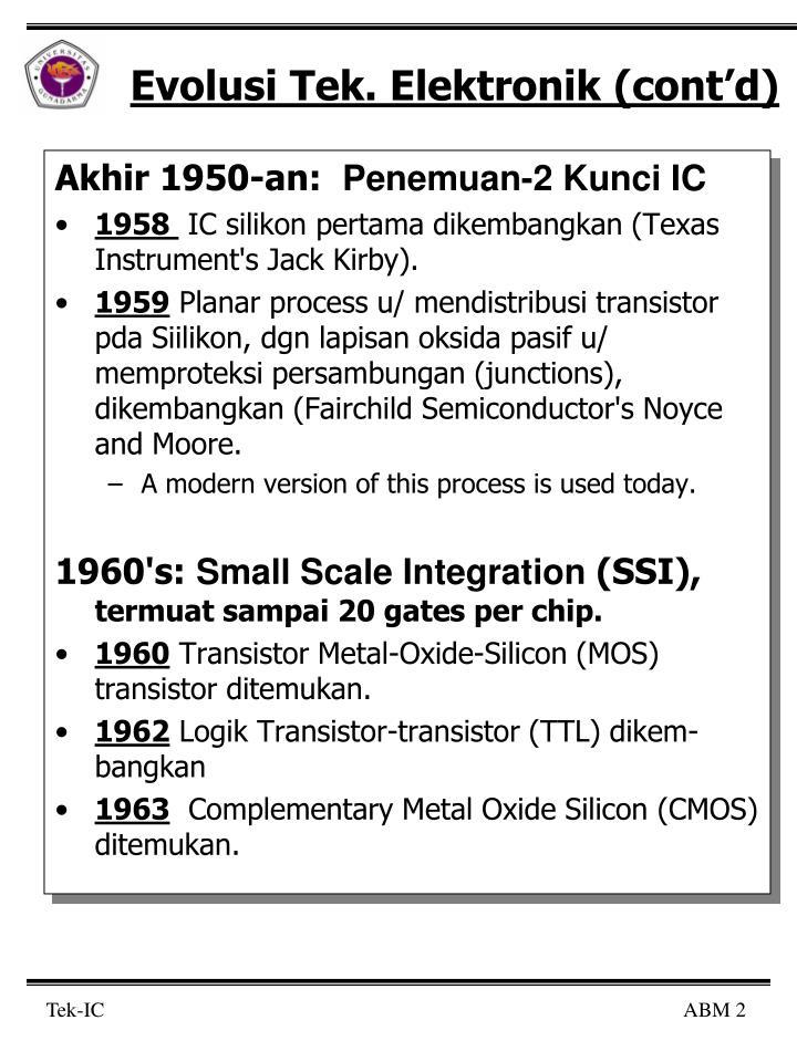 Evolusi tek elektronik cont d