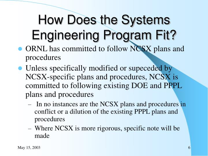 How Does the Systems Engineering Program Fit?