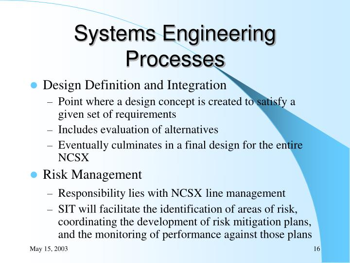 Systems Engineering Processes