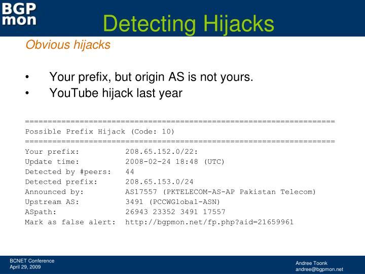 Detecting Hijacks