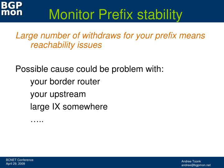 Monitor Prefix stability