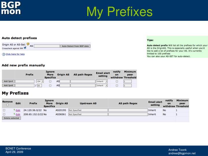 My Prefixes