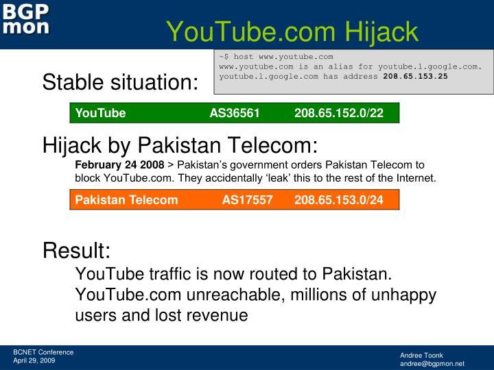 YouTube.com Hijack