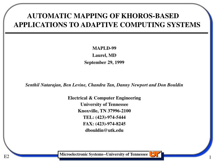 automatic mapping of khoros based applications to adaptive computing systems n.