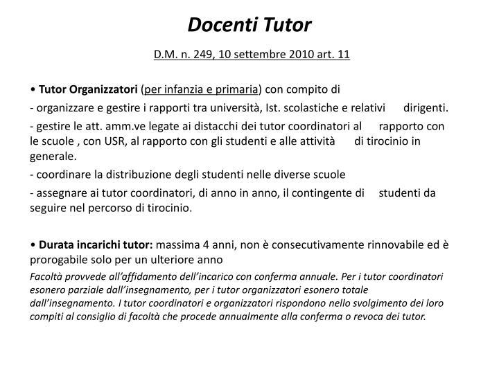 Docenti tutor d m n 249 10 settembre 2010 art 111