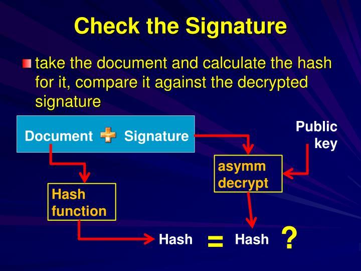 Check the Signature