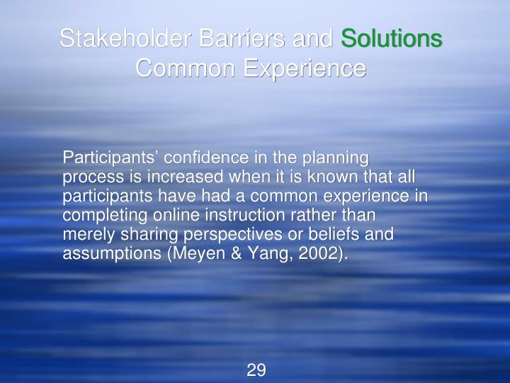 Stakeholder Barriers and