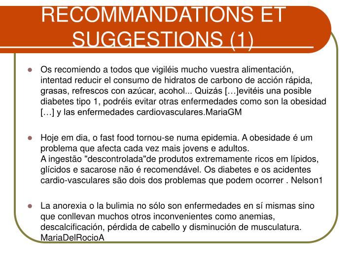 RECOMMANDATIONS ET SUGGESTIONS (1)
