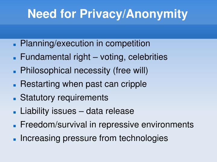 Need for Privacy/Anonymity