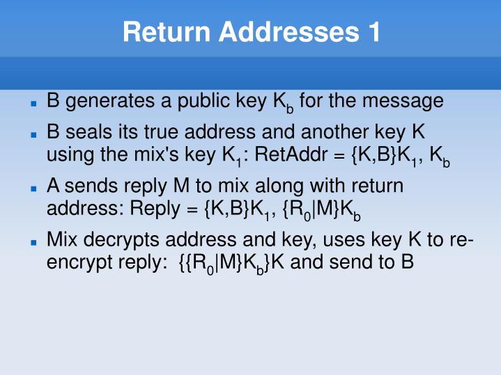 Return Addresses 1