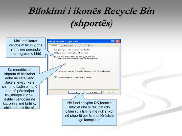 Bllokimi i ikonës Recycle Bin (shportës