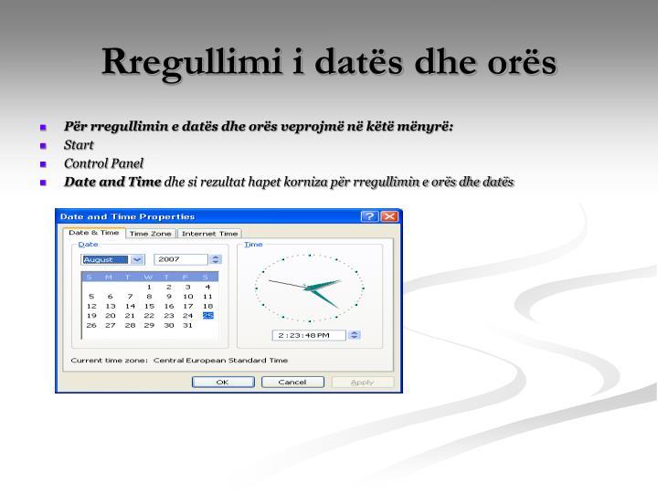 Rregullimi i datës dhe orës