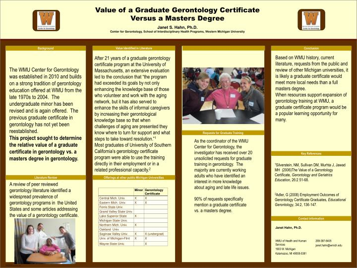Ppt Value Of A Graduate Gerontology Certificate Versus A Masters