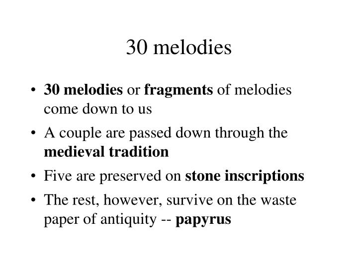 30 melodies