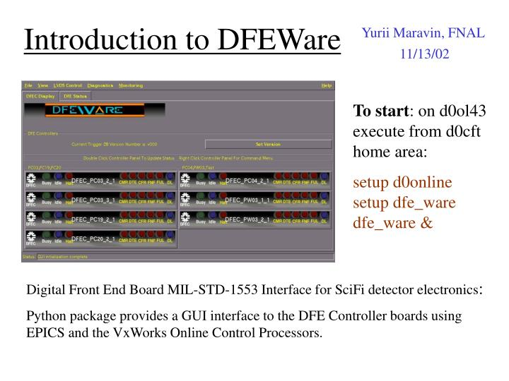 Introduction to dfeware