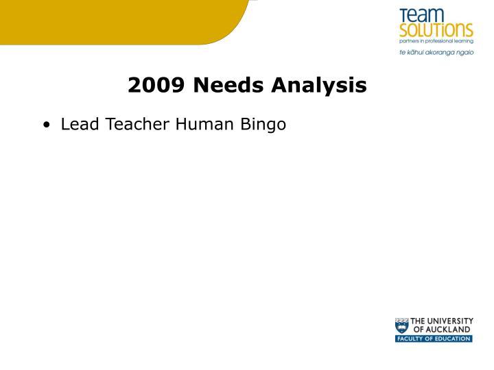 2009 Needs Analysis