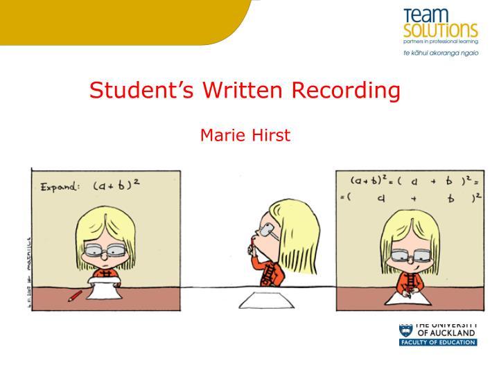 Student's Written Recording
