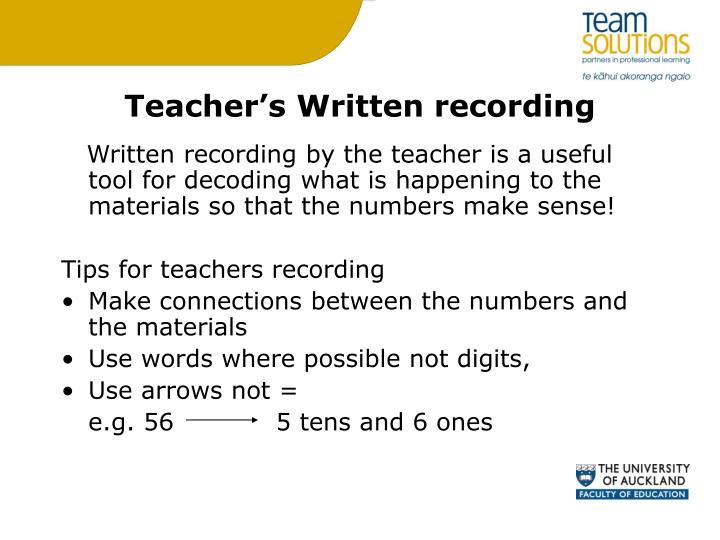 Teacher's Written recording
