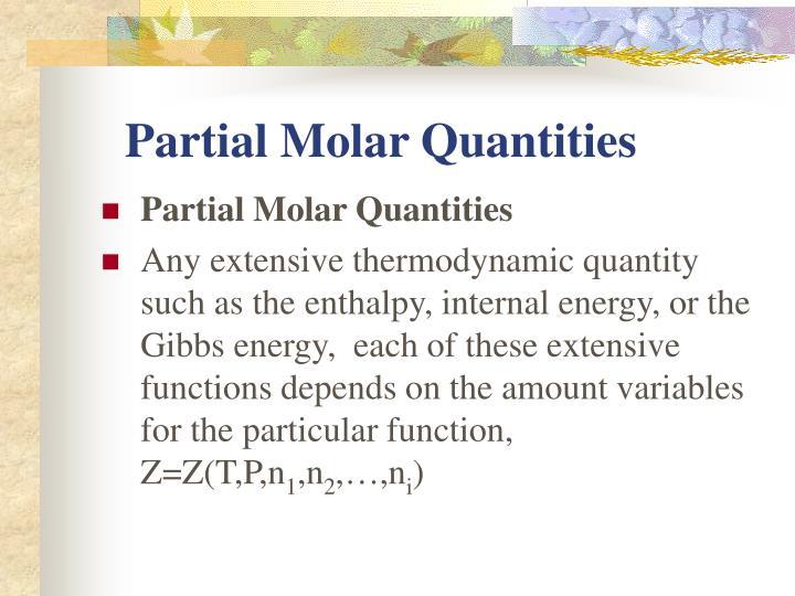 Partial Molar Quantities