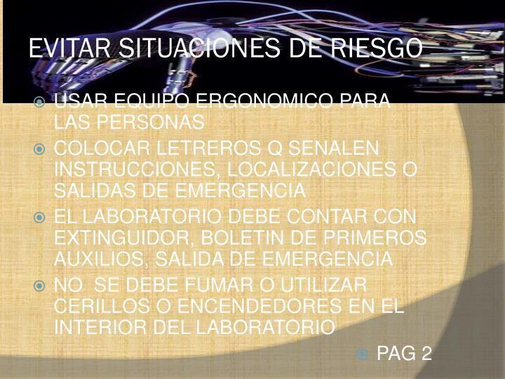 EVITAR SITUACIONES DE RIESGO