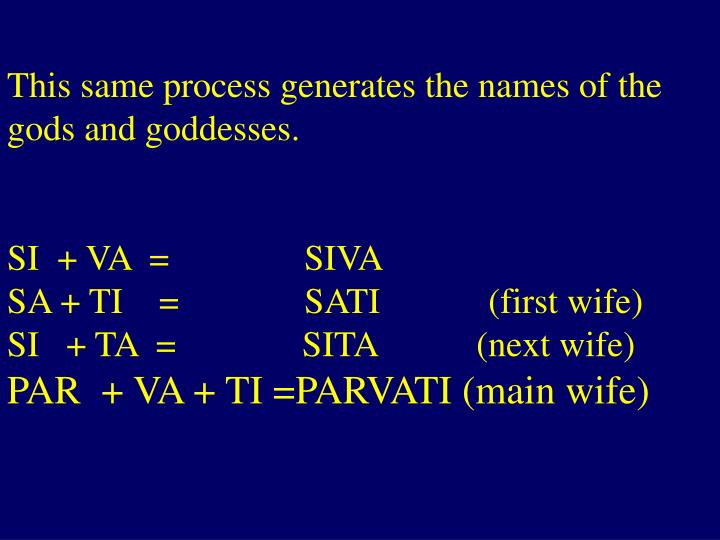 This same process generates the names of the gods and goddesses.