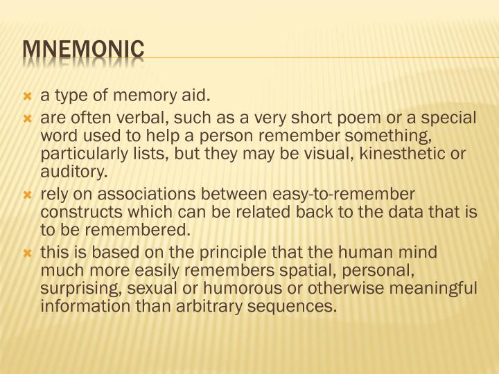 a type of memory aid.