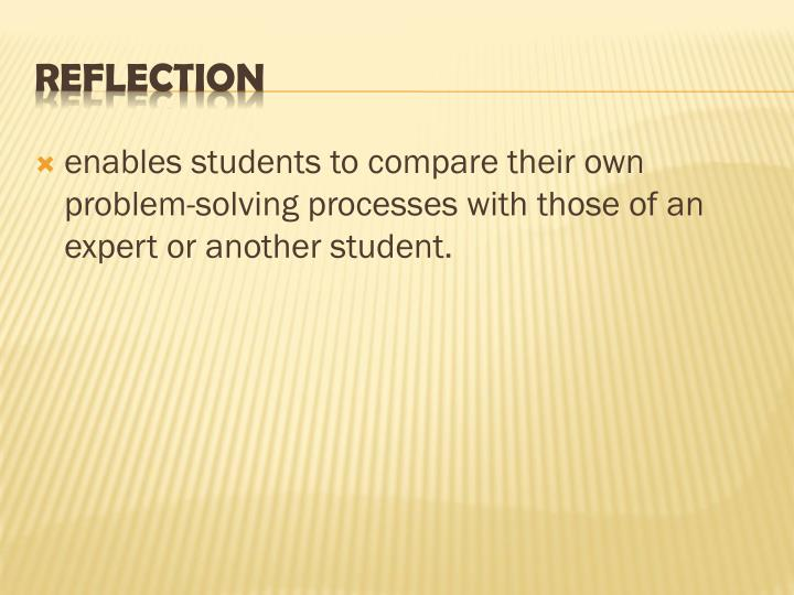enables students to compare their own problem-solving processes with those of an expert or another student.