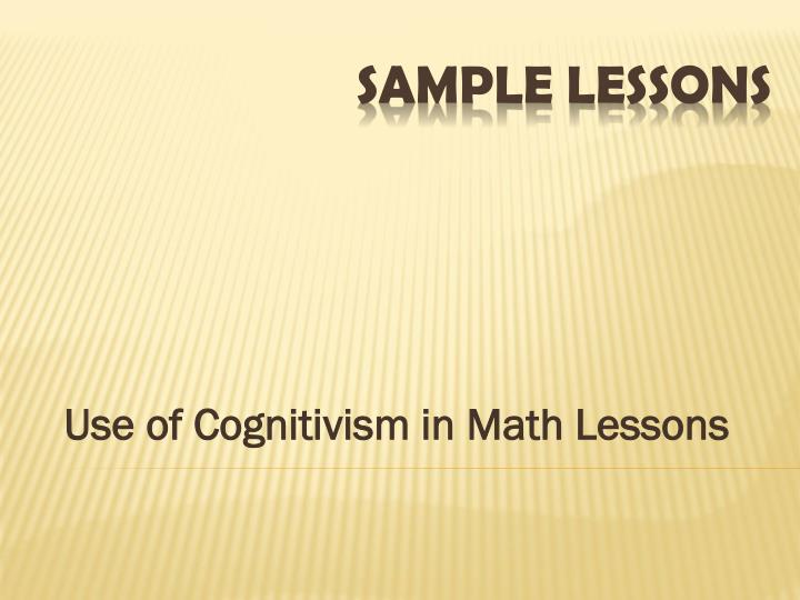 Use of Cognitivism in Math Lessons