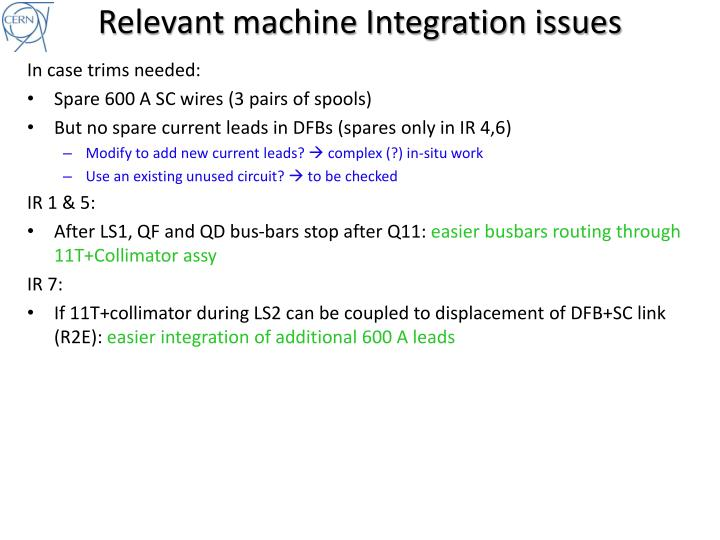 Relevant machine integration issues