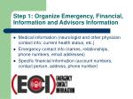 step 1 organize emergency financial information and advisors information1