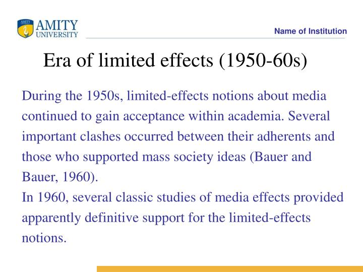 During the 1950s, limited-effects notions about media
