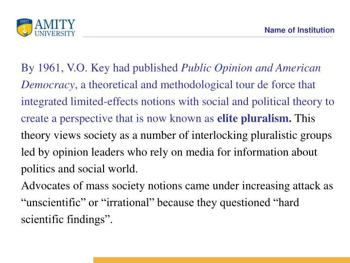By 1961, V.O. Key had published