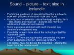 sound picture text also in icelandic