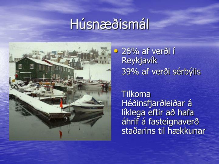 26% af verði í Reykjavík