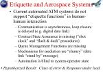 etiquette and aerospace systems