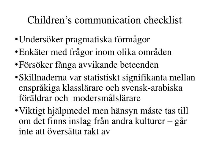 Children's communication checklist