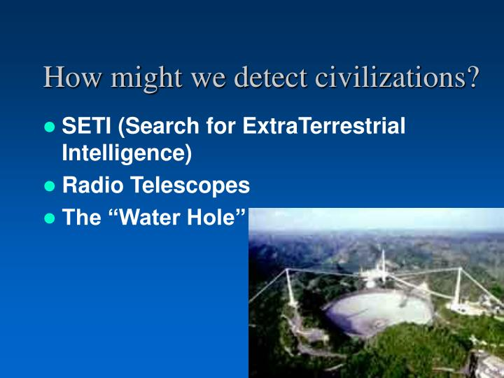 a look at the search for extraterrestrial intelligence seti in the search for the unknown in life The search for extraterrestrial intelligence (seti)  the ongoing search for extraterrestrial life seti's  aliens any day now: seti scientists discuss.