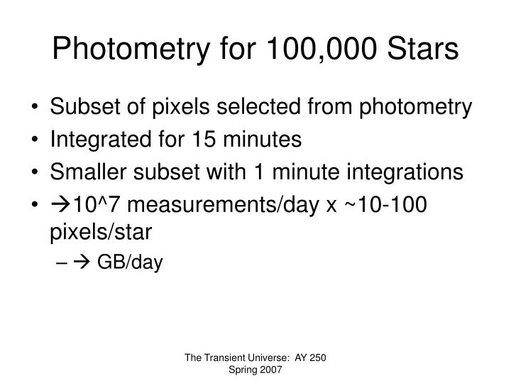 Photometry for 100,000 Stars