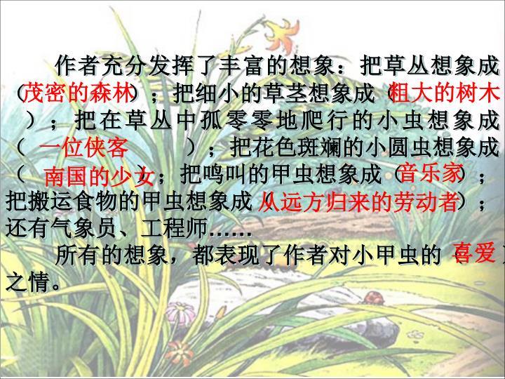 作者充分发挥了丰富的想象:把草丛想象成(                );把细小的草茎想象成(
