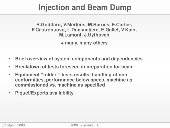 injection and beam dump n.
