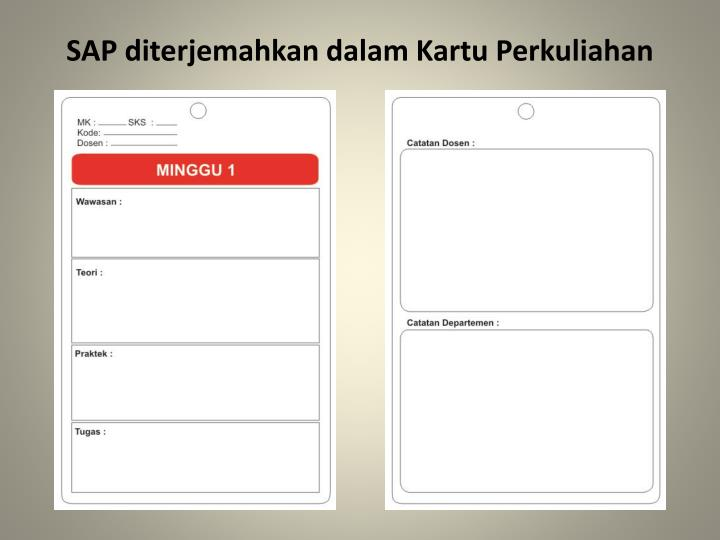 SAP diterjemahkan dalam Kartu Perkuliahan