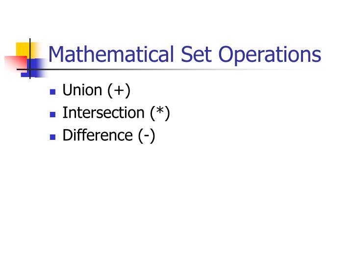 Mathematical Set Operations
