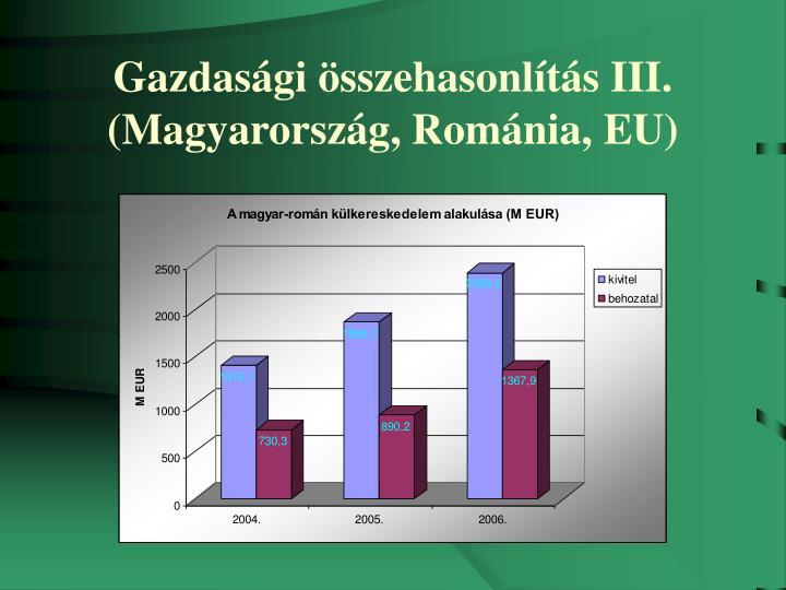 Gazdasági összehasonlítás III.